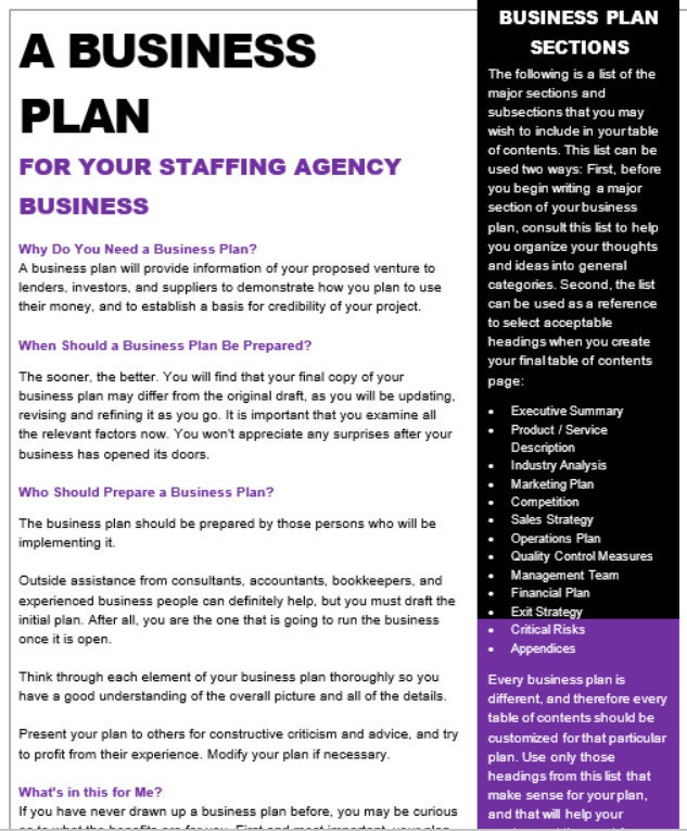 how to write a business plan for recruitment agency