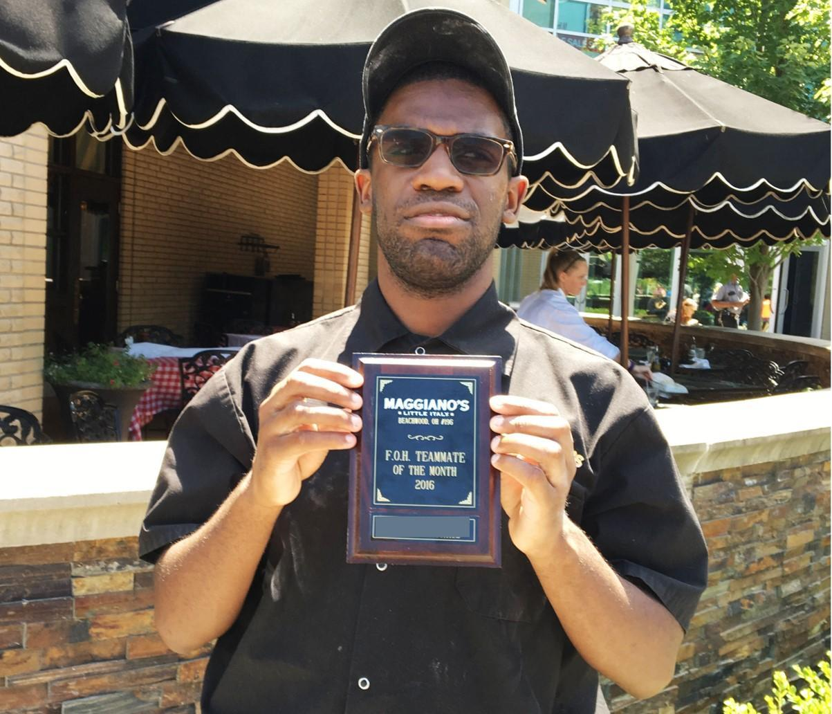William is employee of the month at Maggiano's Little Italy