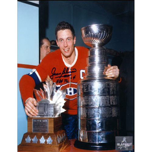 Jean Beliveau Trophy-Signed 8x10 Stanley Cup & Conn Smythe Photo