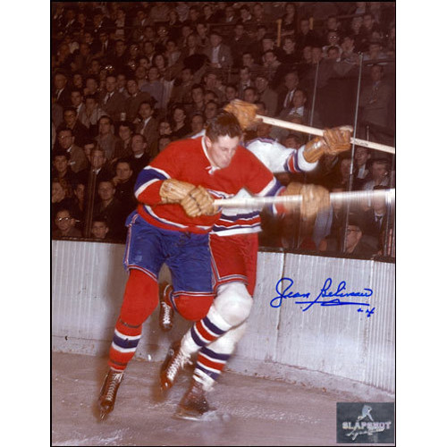 Jean Beliveau Signed Picture Montreal Canadiens 8x10 Checking Photo