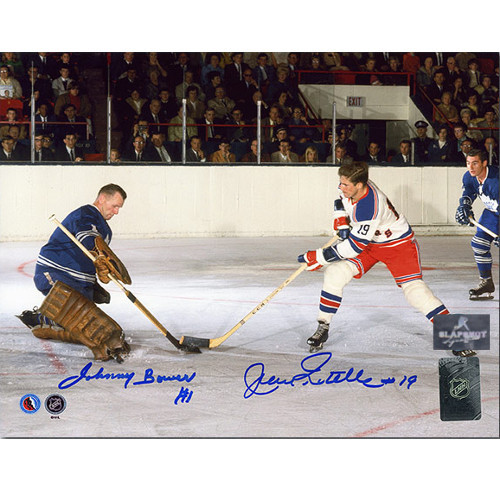 Jean Ratelle vs Johnny Bower Signed Picture 8x10