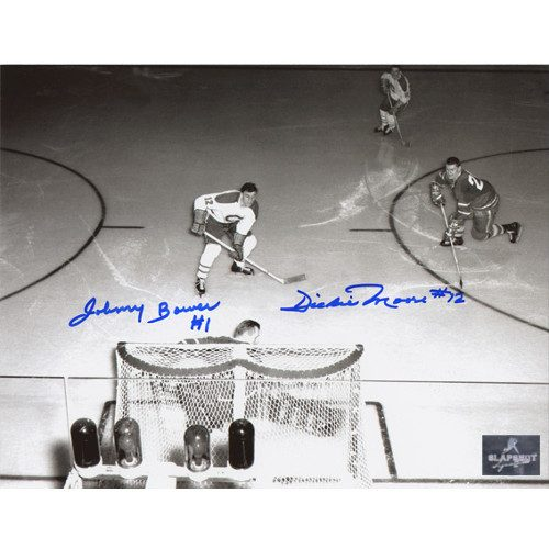 Johnny Bower vs Dickie Moore Dual Signed Legends Showdown Overhead 8x10 Photo