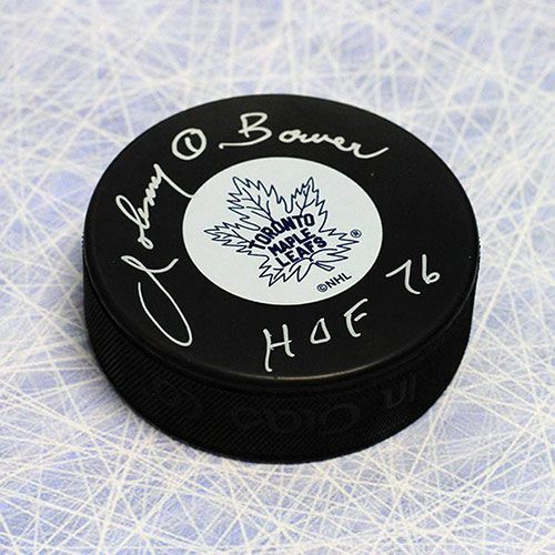 Johnny Bower Signed Puck Toronto Maple Leafs