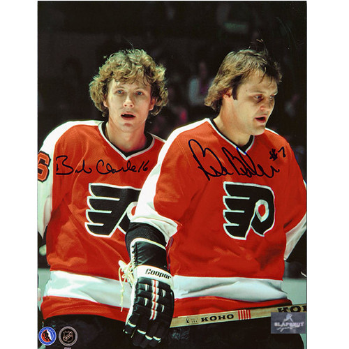 Bobby Clarke Autographed Picture with Bill Barber Dual Signed Linemates 8x10 Photo
