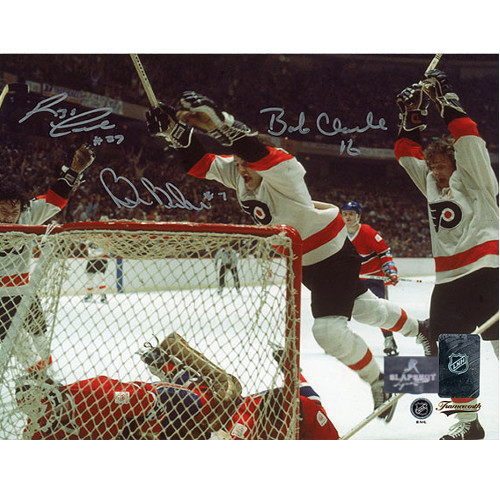 Flyers LCB Line Photo 8X10 signed by Bobby Clarke