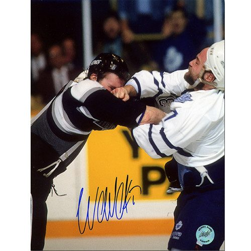 Wendel Clark Fight Photo vs McSorley Signed 8x10 Toronto Maple Leafs