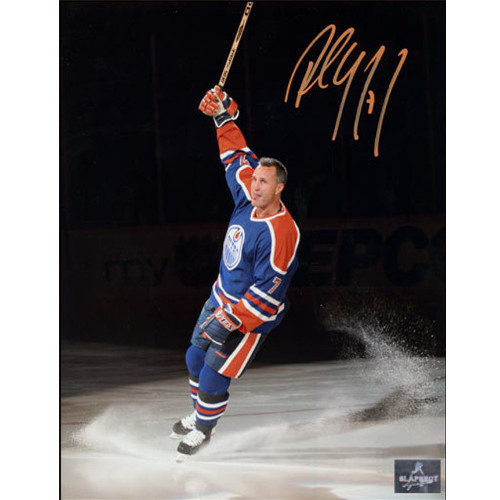 Paul Coffey Edmonton Oilers Banner Retirement Night Signed Photo