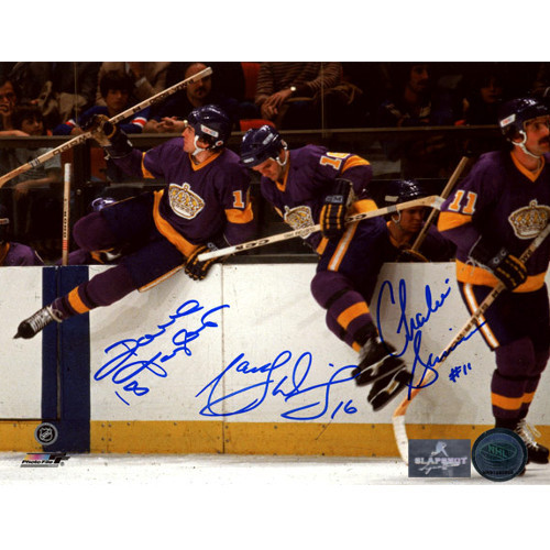 Own a piece of hockey history with a Marcel Dionne Dave Taylor Charlie Simmer LA Kings Signed 8x10 Photo