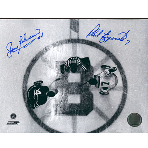 Phil Esposito Jean Beliveau Garden Overhead Face-off Dual Signed 8x10 Hockey Photo