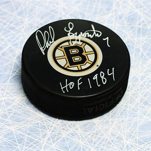 Phil Esposito Signed Hockey Puck with HOF note Boston Bruins