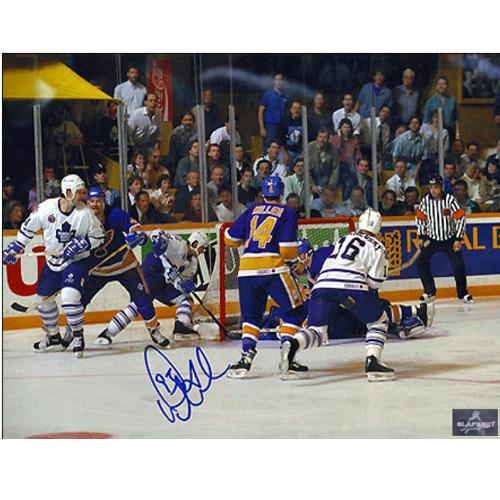 Doug Gilmour Behind the Net Leafs Signed 8x10 Playoff Wrap Around Goal Photo|Doug Gilmour Toronto Maple Leafs Signed 8x10 Playoff Wrap Around Goal Photo