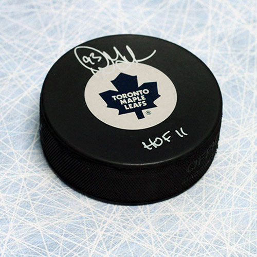 Doug Gilmour Signed Puck Toronto Maple Leafs with HOF Inscription