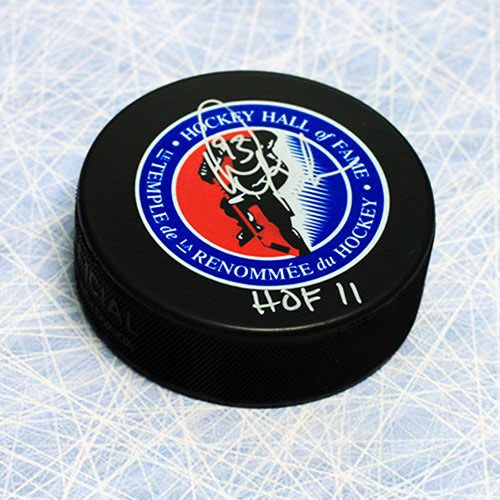 Doug Gilmour Hall of Fame Signed Hockey Puck with HOF Inscription