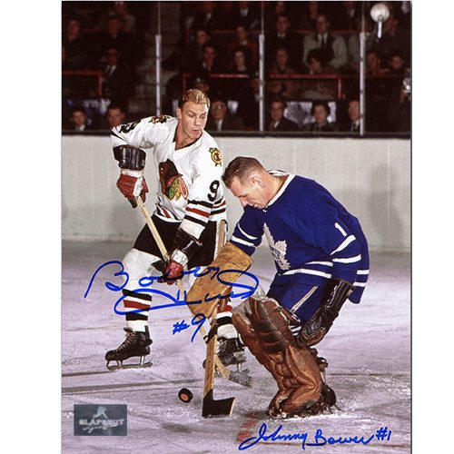 Bobby Hull Johnny Bower Original 6 Legends Signed 8x10 Photo