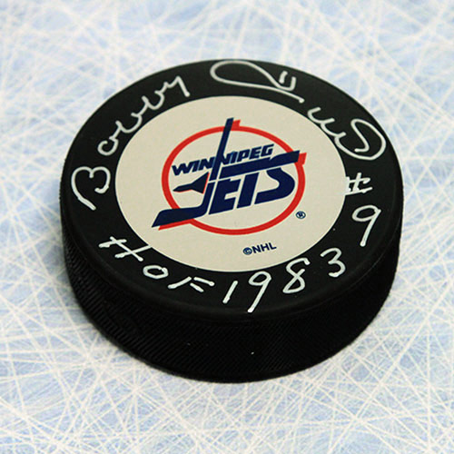 Bobby Hull Signed Puck Winnipeg Jets with HOF note