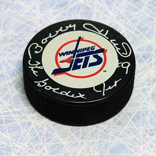 Bobby Hull Winnipeg Jets Signed Hockey Puck with Golden Jet Inscription