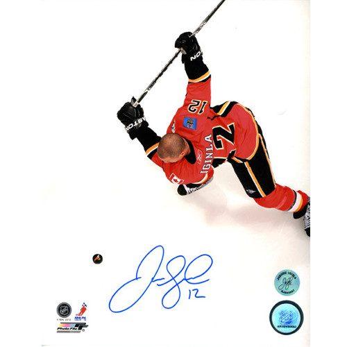 Jarome Iginla Calgary Flames Autographed Overhead 8x10 Photo