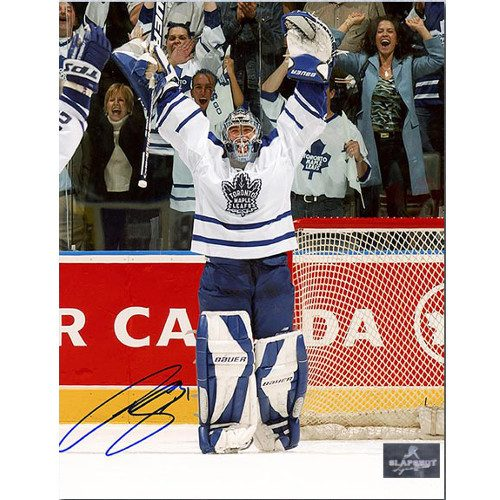 Curtis Joseph Toronto Maple Leafs Victory Celebration Signed 8x10 Photo