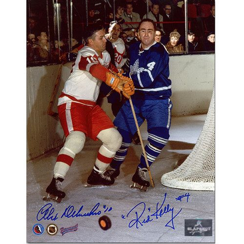 Red Kelly vs Alex Delvecchio Dual Signed Leafs and Red Wings 8x10 Photo