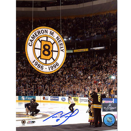 Cam Neely Retirement Boston Bruins Banner Night Signed 8x10 Photo