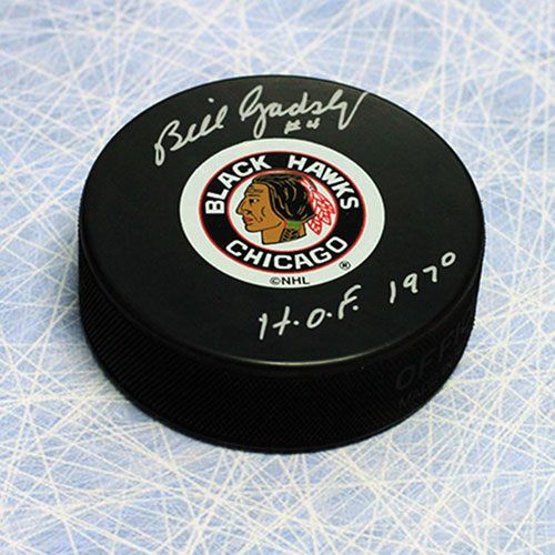 Bill Gadsby Signed Chicago Blackhawks Hockey Puck