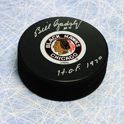 Bill Gadsby Signed Chicago Blackhawks Hockey Puck