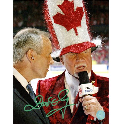 Don Cherry Coaches Corner Autographed Canada Hat 8x10 Photo