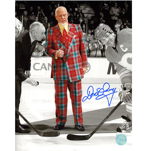 Don Cherry Flames Faceoff Autographed Plaid Suit Spotlight 8x10 Photo