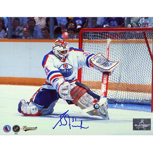Grant Fuhr Edmonton Oilers Autographed Kick Save 8x10 Photo