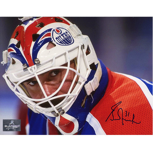 Grant Fuhr Edmonton Oilers Autographed Mask Close Up 8x10 Photo