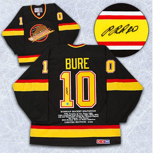 Pavel Bure Jersey-Vancouver Canucks Signed Retro CCM Stats Jersey LE #/112