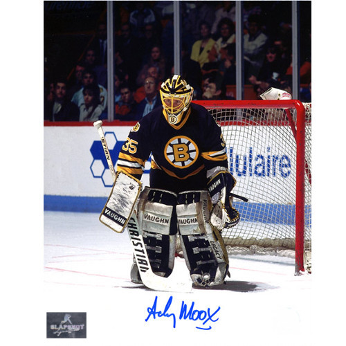 Andy Moog Autograph Boston Bruins 8X10 Goalie Photo