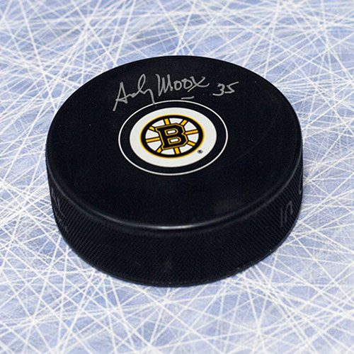 Andy Moog Autographed Boston Bruins Hockey Puck