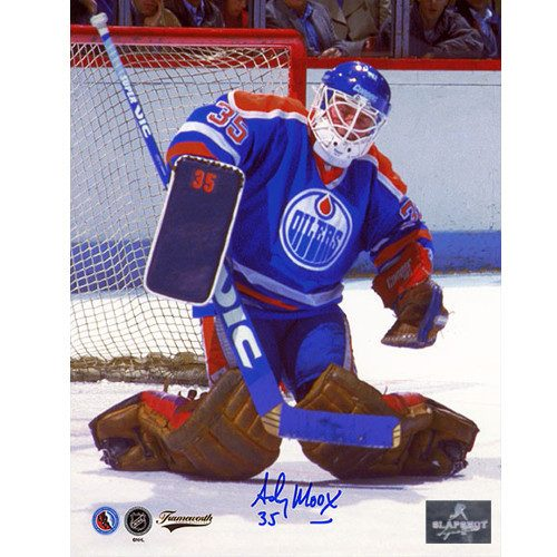 Andy Moog Signed Edmonton Oilers Save 8X10 Photo