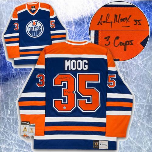 Andy Moog Edmonton Oilers Signed Fanatics Vintage Hockey Jersey