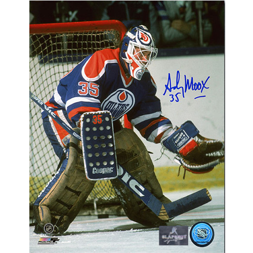 Andy Moog Signed Edmonton Oilers 8X10 Goalie Photo