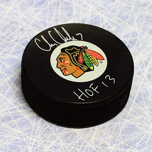 Chris Chelios Signed Puck-Chicago Blackhawks-HOF note
