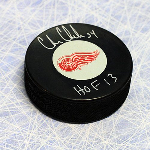 Chris Chelios Autographed Puck-Detroit Red Wings-HOF note