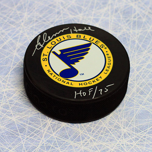 Glenn Hall Signed Puck St Louis Blues with HOF note