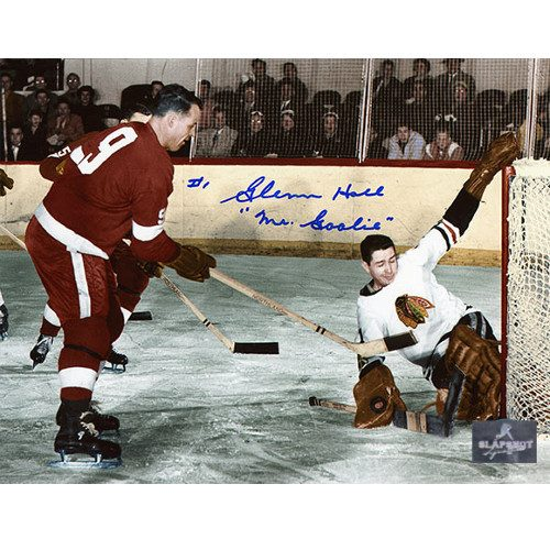 Glenn Hall Chicago Blackhawks vs Gordie Howe Signed 8X10