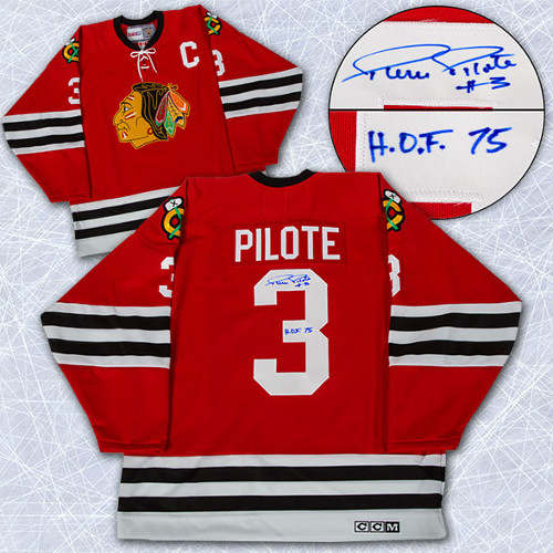 Pierre Pilote Autographed Jersey Chicago Blackhawks Vintage Style