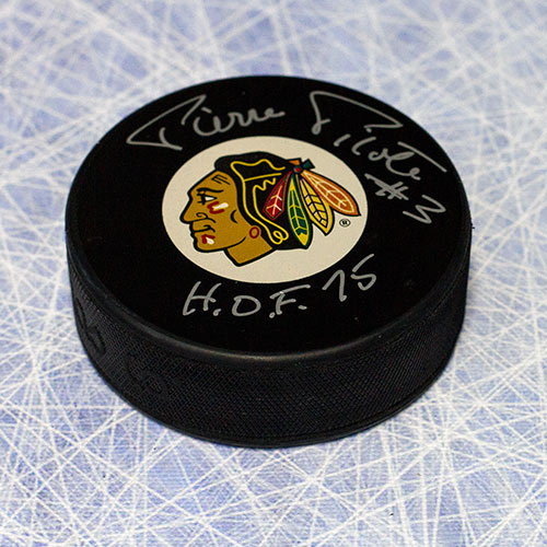 Pierre Pilote Chicago Blackhawks Autographed Hockey Puck