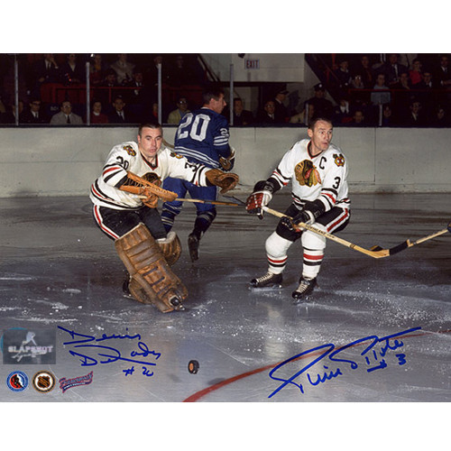 Denis Dejordy & Pierre Pilote Signed Chicago Blackhawks 8X10 Photo