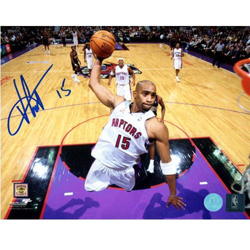 Vince Carter Dunk-Raptors Net-Cam Signed 8x10