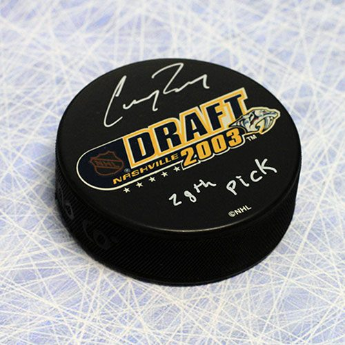 Corey Perry Draft Year 2003 Signed Puck with 28th Note