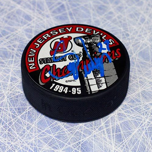 Scott Niedermayer Autographed Puck-NJ Devils 1995 Cup