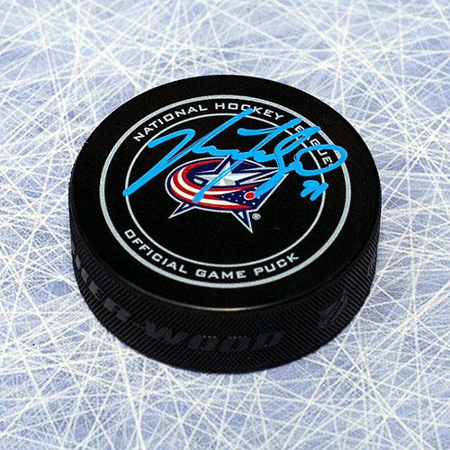 Nick Foligno Signed Puck-Columbus Blue Jackets Official Puck
