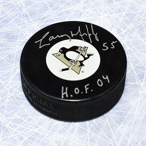 "Larry Murphy Pittsburgh Penguins Signed Hockey Puck with ""HOF"""