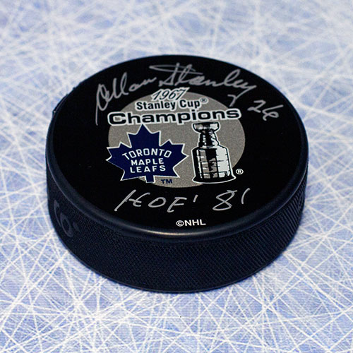Allan Stanley -Stanley Cup Toronto Maple Leafs Signed Puck