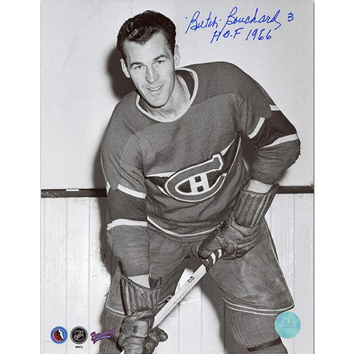 Butch Bouchard Hall of Fame 1966 Montreal Canadiens Signed 8x10 Photo